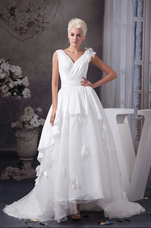 High Low Wedding Dresses 2015 Vestidos De Noivas Casamento Ribbons Cool Design Vintage Empire Bridal Gown China Custom Flower(China (Mainland))