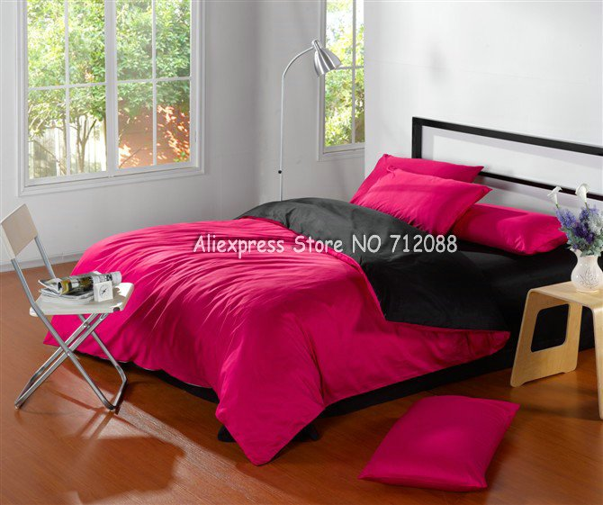 Wholesale,Satin Drill cotton twill duvet quilt covers Roseo Black Bi-color solid pattern King bedding sets 4pcs with flat sheet(China (Mainland))