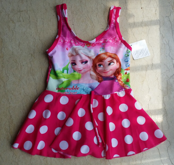 Fashion One Piece Girls Swimwear Cute Dot Children Elsa Girls Bikini Kids Swimsuit For Girls Bathing Suit Baby Infant Swimwear(China (Mainland))