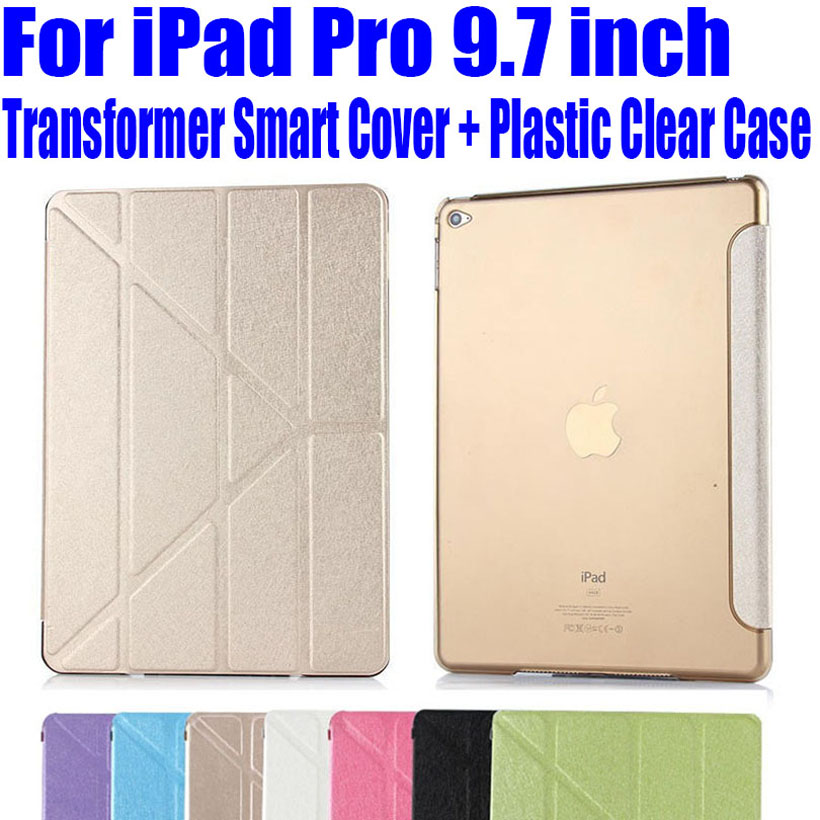 For iPad Pro 9.7 inch Transformer Smart Cover Plastic Clear back case Slim PU Leather Case for Apple iPad PRO IPRS1(China (Mainland))