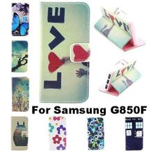 Stand Design PU Leather Phone Case For Samsung Galaxy Alpha G850 G850F G8508S Wallet Flip Style Back Cover With Card Slot