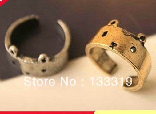 Fashion Teddy Bear Stylish Adjustable Ring, Opening Ring(Gold)lovely small bear open finger ring finger 2015 HOT(China (Mainland))