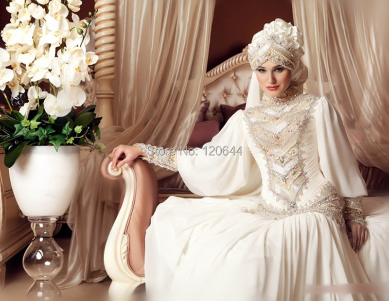 2015 New Arrival Chiffon Muslim Bridal Gown Long Sleeves Dubai Arabic Islamic Wedding Dress 2015