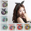 1Pc Cute Leopard Dots lip print flower Bunny Rabbit Ear Ribbon Headwear Hairband Metal Wire Scarf
