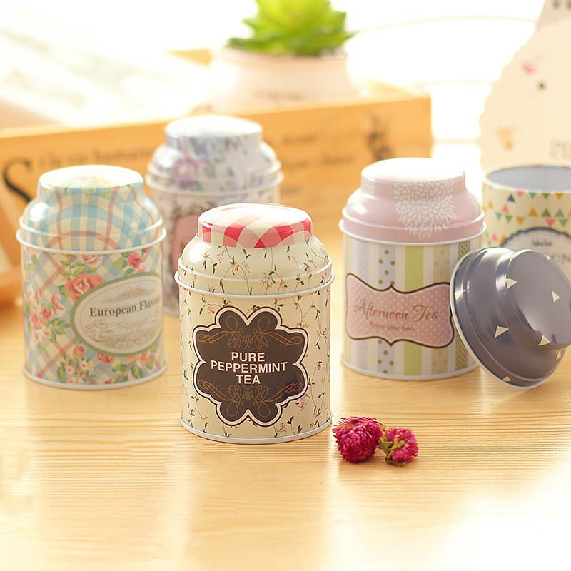 Floral Tin Box Tinplate Coffee Beans Candy Box Accessories Round Sealed Can Kitchen Tea Pot 1Pcs European Pastoral Style(China (Mainland))