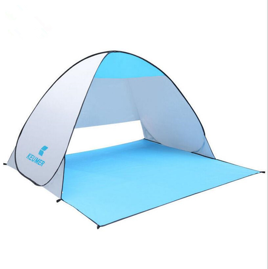 Outdoor Camping Hiking Automatic Beach Tents Summer Sun Shade Quick Open Awning Fishing Sun-Protective Canopy Blue(China (Mainland))
