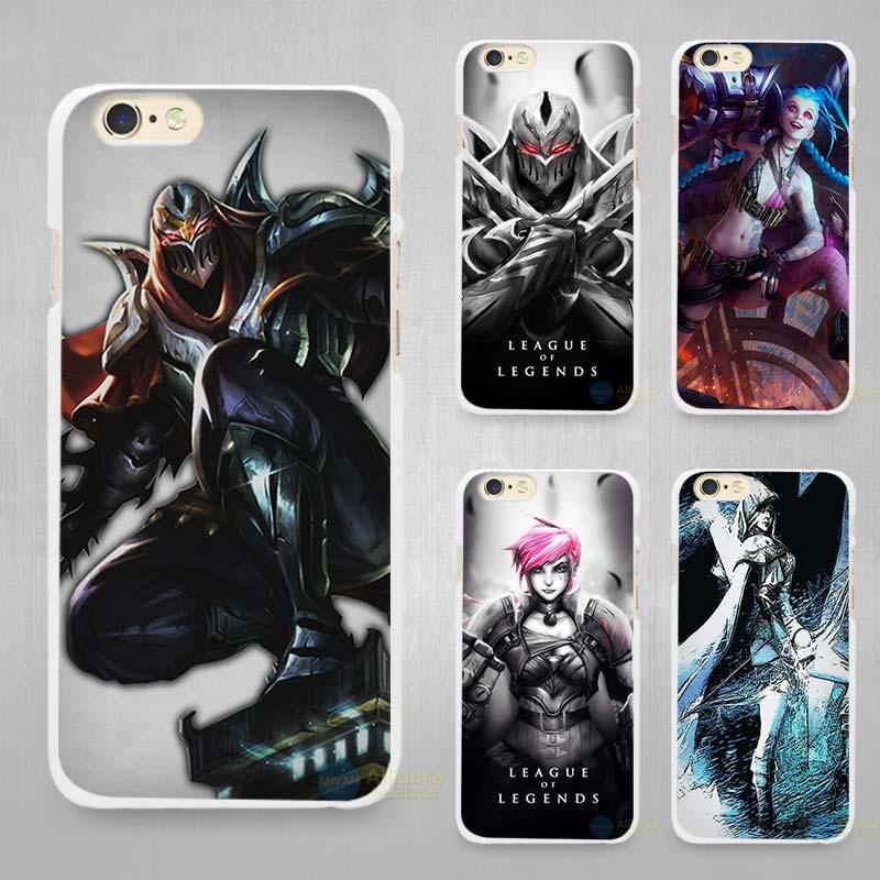 League Legends lol Jinx Zed Hard White Cell Phone Case Cover Apple iPhone 4 4s 5 SE 5s 6 6s 7 Plus