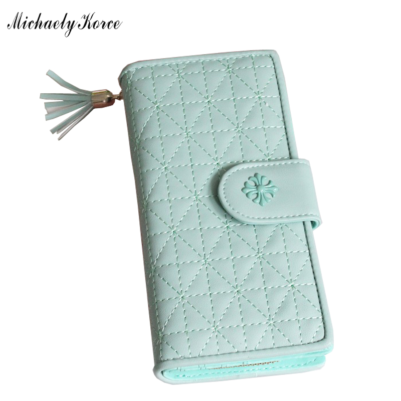 Newest European American Style 2 Fold Moblie Phone Wallet Bag Tassel Zipper Hasp Women Long Purse PU Leather Credit Card Wallets<br><br>Aliexpress