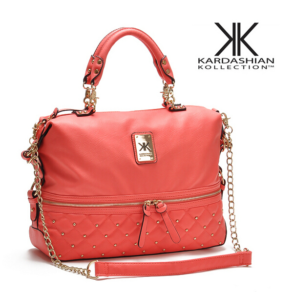 KK bag kardashian kollection original brand handbags women messenger bags 2015 female rivet fashion chain shoulder bag free ship(China (Mainland))