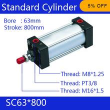 SC63 * 800 Бесплатная доставка Стандартные цилиндры воздуха SC63-800 клапан 63 мм диаметр 800 мм ход одноместный род двойного действия пневматический цилиндр