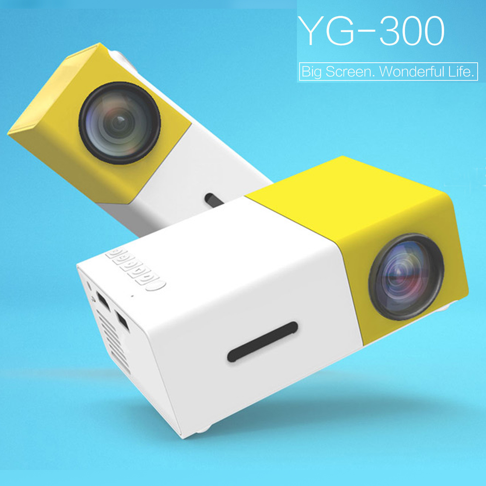 2016 The New Listing Yellow Mini YG300 LCD 400 - 600 Lumens 320 x 240 Pixels 3.5mm Audio Interface Home Projector Media Player(China (Mainland))