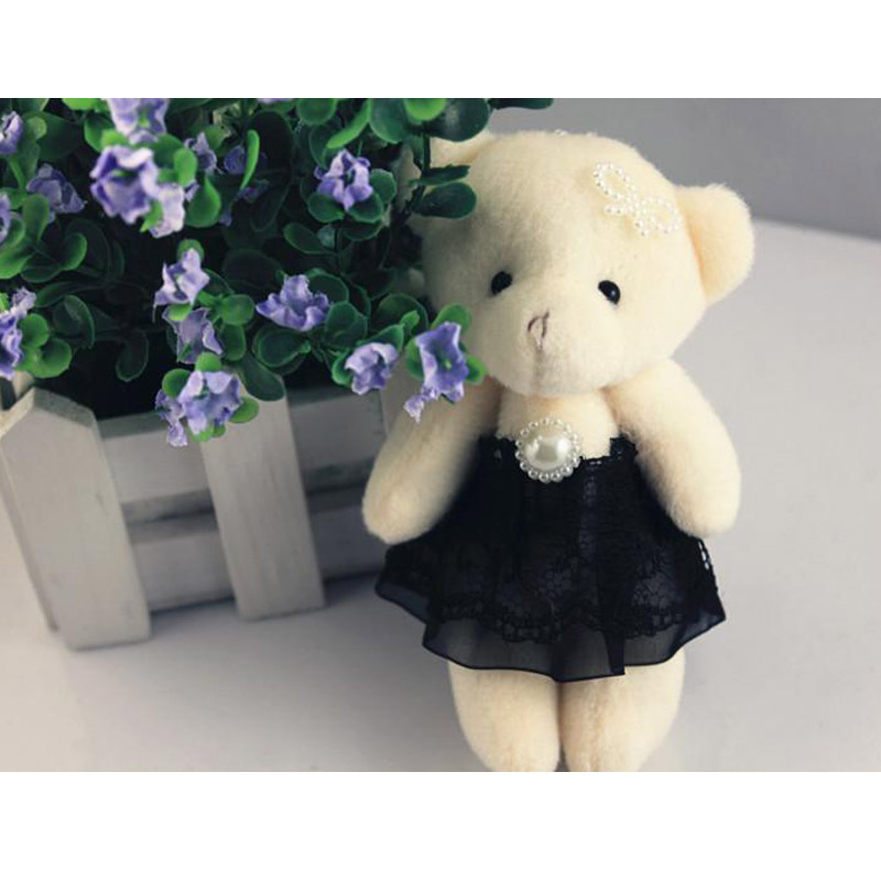 50pcs/lot Kawaii Small Joint Teddy Bears Stuffed Plush 12CM Toy Teddy-Bear Mini Bear Ted Bears Plush Toys Lace Dress Gifts 124(China (Mainland))