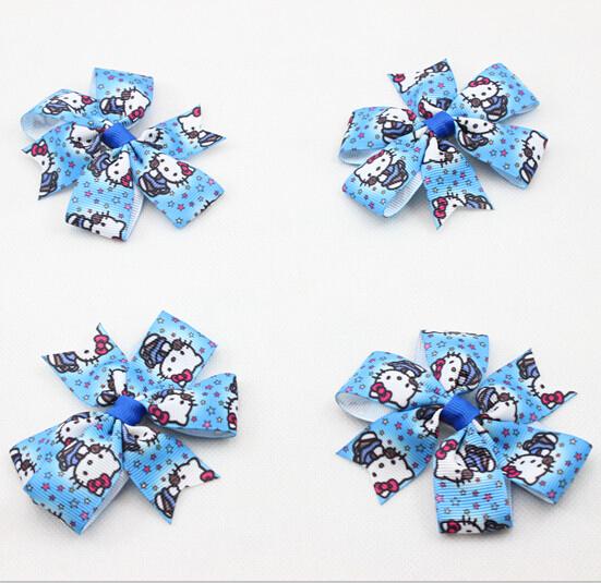 Wholesale New Grosgrain Ribbon Hello Kitty Pinwheel Hair Bow for Girl Hair Princess Bow Clips Boutique Ribbon Bows 350 pcs/lot(China (Mainland))