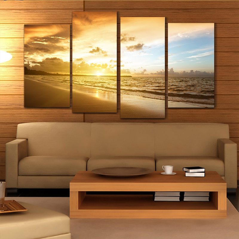 Cheap ocean sunset 4pcs printed painted canvas oil for Cheap canvas paintings for sale