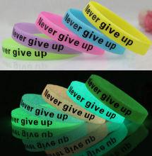 FD2543 new Silicone Rubber Elastic Sport Wristband Cuff Bracelet Bangle Glow In Dark(China (Mainland))