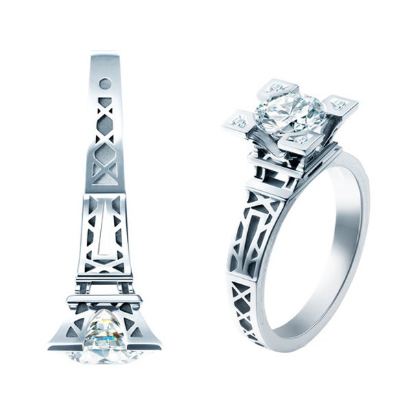 Free Shipping 1 CT 6.5mm French Champs Elysees Kiss Paris Eiffel Tower 925 Sterling Silver Women Crystal Engagement Wedding Ring(China (Mainland))