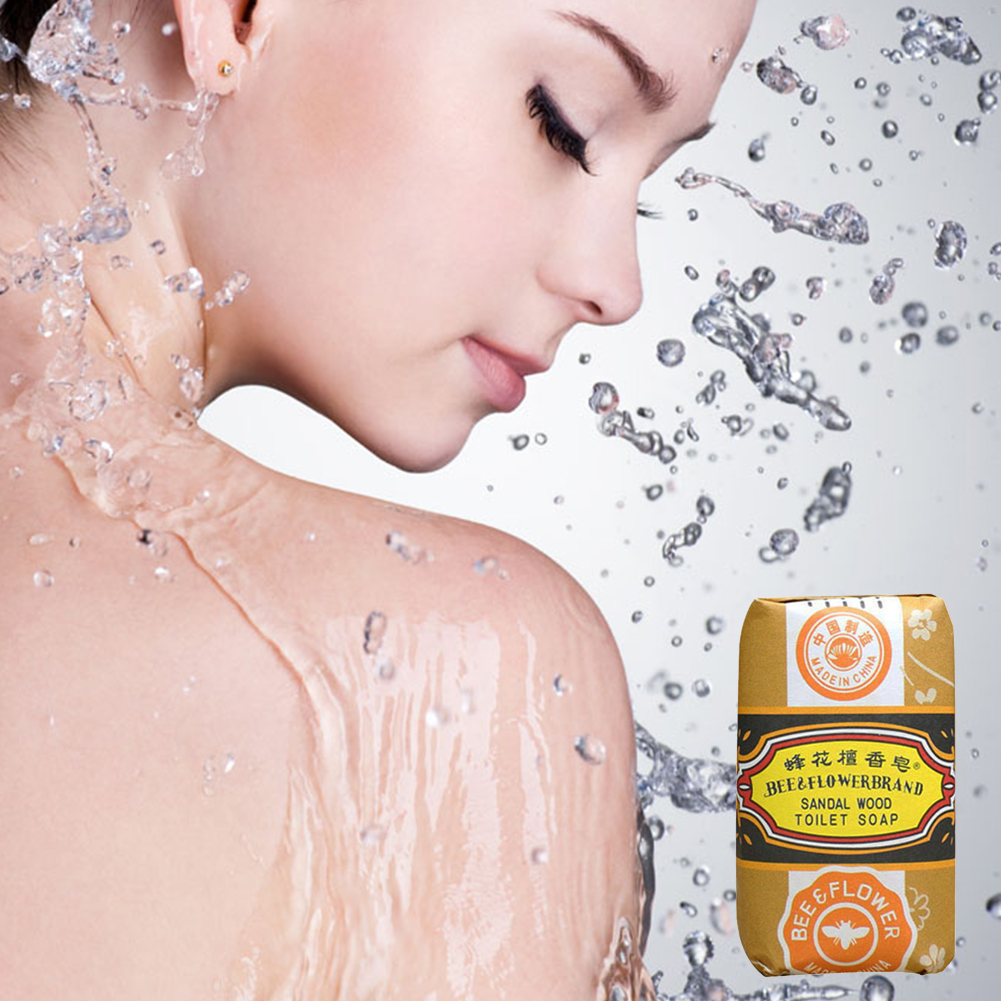 5 pcs /lot 25g bee flower sandalwood soap acne soap bath soap removing mites travel package wholesale(China (Mainland))