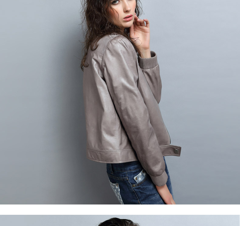 UUV Grey Leather Jacket Women 2016 Autumn Stand Collar Slim Coat Motorcycle Jackets Waterproof Windbreaker Soft Coats JS1306051