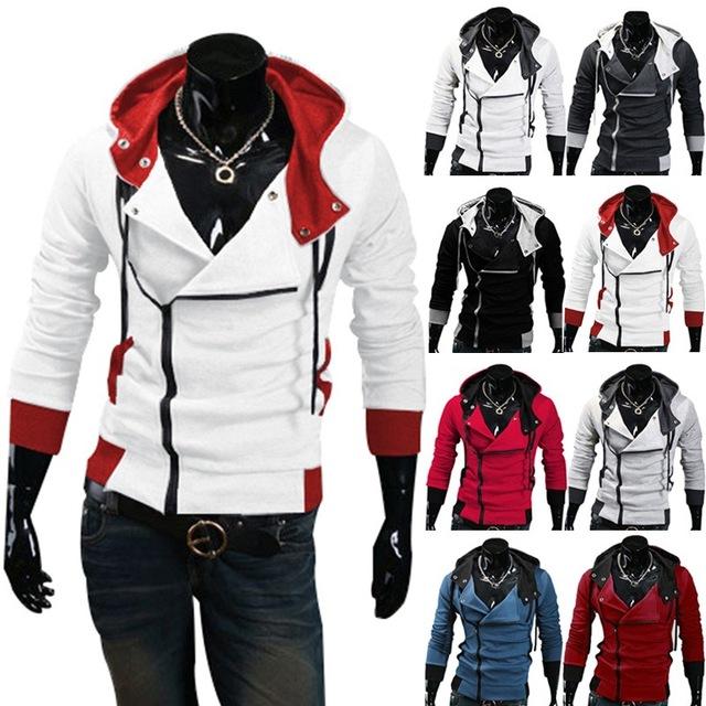 Бесплатная доставка 2016 Осенние и Зимние Мужчин Бренд Моды Случайные Тонкий Кардиган Assassin Creed Толстовки Толстовка Верхняя Одежда Куртки