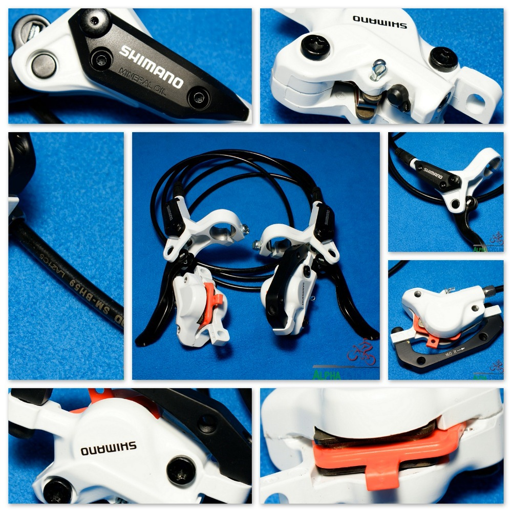 2014 New M395 Hydraulic MTB Disc Brake (White, Left Rear, Right Front) , Full Set, ready use