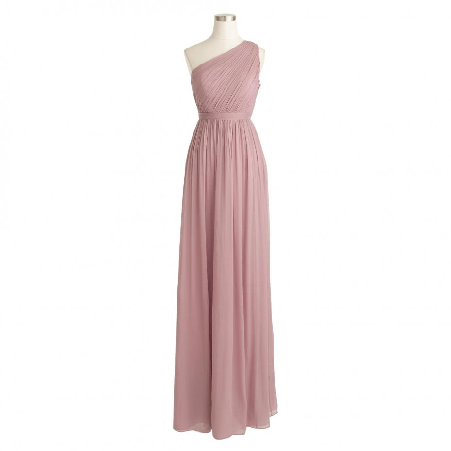 One Shoulder Blush Pink Bridesmaid Dresses