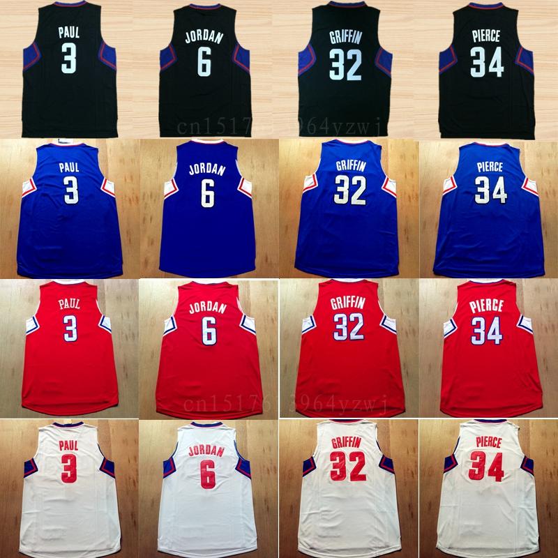 2016 Basketball 3 Chris Paul Jersey Fashion Mens 32 Blake Griffin Sports Jerseys 34 Paul Pierce Team Color Red Blue White Black<br><br>Aliexpress