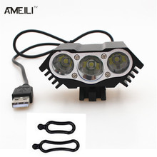 8000lm LED 3x CREE XM-L T6 LED 5V Front Bicycle Cycling Lamp Bike light Headlamp USB 4 Mode Flashlight torch headlight(China (Mainland))