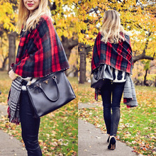 Hot Lady Women Neck Warm Tartan Grid Pashminas Reversible Shawl Scarf Wrap drop shipping
