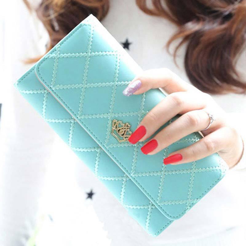 Горячая мода леди женщин лонг клатч кошелек кожаный бумажник держателя карты