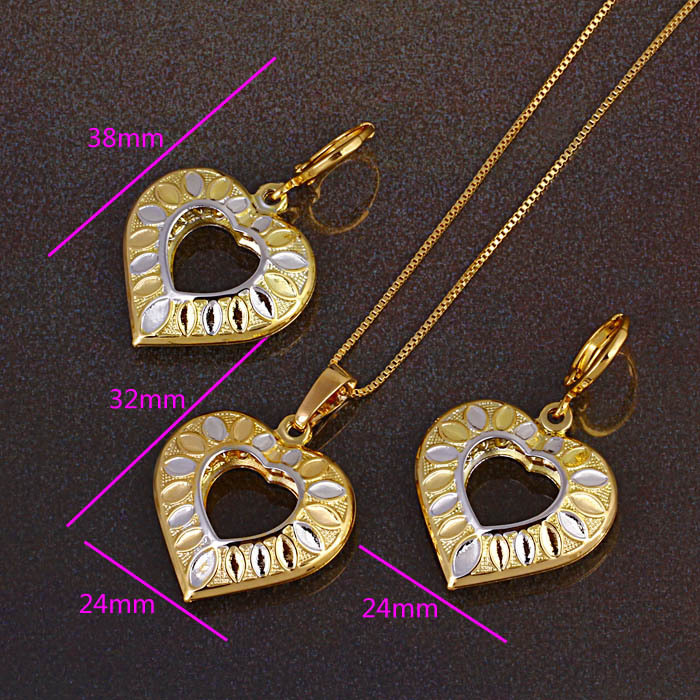 1set 14K gold filled womans heart charms necklace+pendant+earring jewelry set - ANN' Shop store