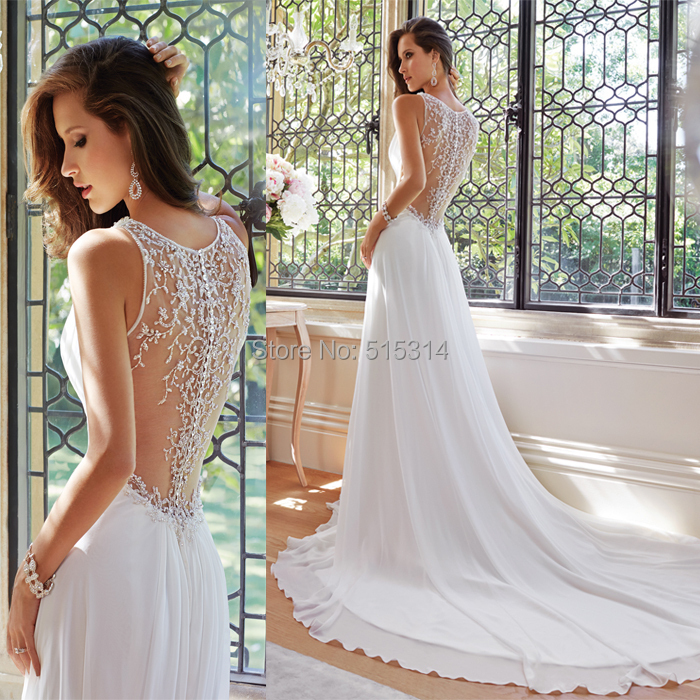 Casual chiffon beach wedding dress 2015 lace back long tail wedding gowns bride dresses for weddings C35(China (Mainland))