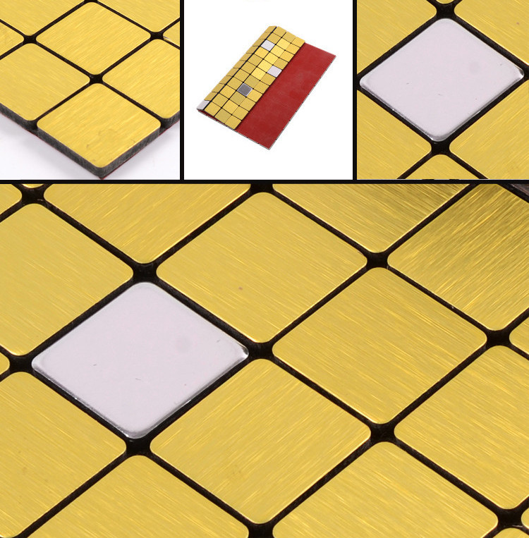 Self-adhesive gold mosaics with silver tiles ,wall mosaic tile stickers for bathroom, aluminum plate kitchen backsplash <br><br>Aliexpress