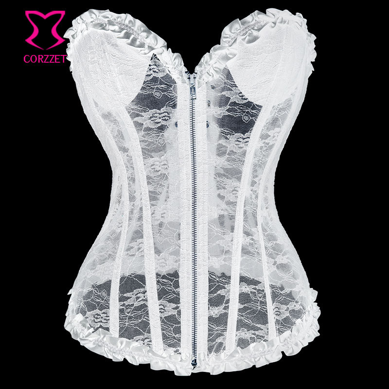 Victorian white lace bridal corset overbust women wedding for Corset bra for wedding dress