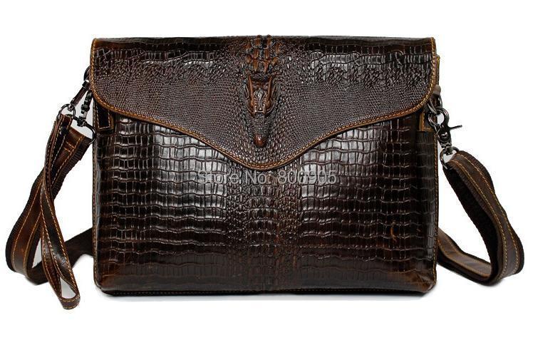 retail Fashion brown color genuine Leather mens bag man vintage alligator shoulder bags, men  mans messenger business  bag<br><br>Aliexpress