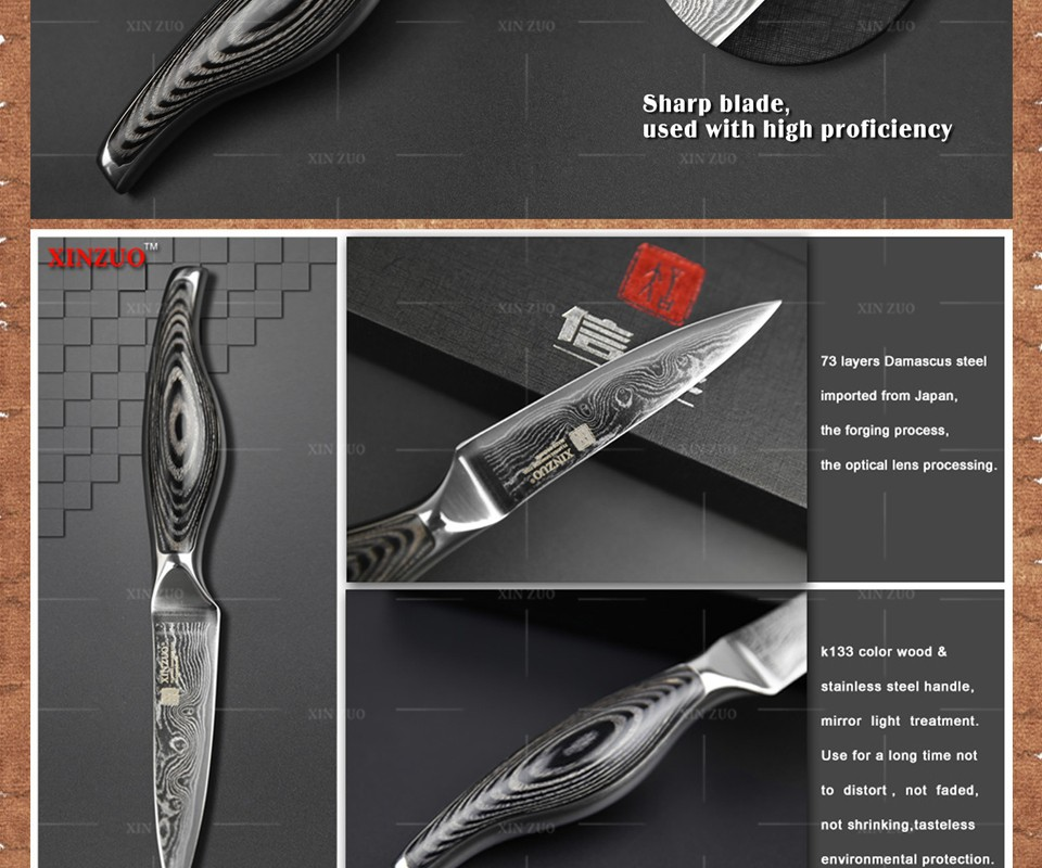 """Buy XINZUO 3.5"""" inch paring knife Japanese VG10 73 layer Damascus kitchen knives sharp fruit utility knife wood handle FREE SHIPPING cheap"""