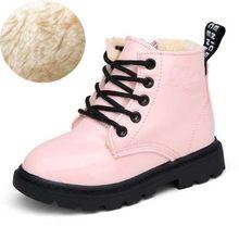 2019 חדש ילדי חורף שלג מגפי עור מפוצל עמיד למים ילדי קטיפה מרטין מגפי בני בנות נעליים יומיומיות אופנה סניקרס(China)
