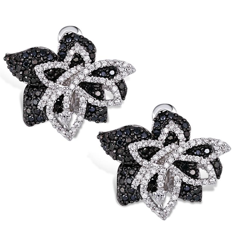 Mansaku s White & Black Women Deluxe Flower AAA Quality Cubic Zircon 925 Silver Pins Bridal Platinum Plated Stud Earring(China (Mainland))