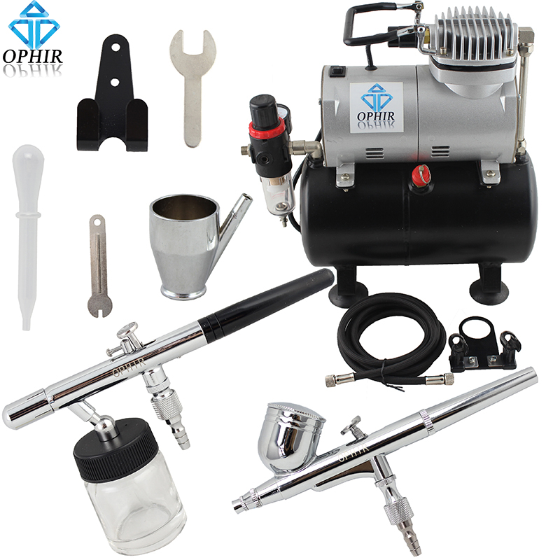 OPHIR 0.3mm 0.35mm Dual-Action Airbrush Kit with Air Tank Compressor for Cake Decoration Model Paint Nail Art _AC090+004A+072(China (Mainland))