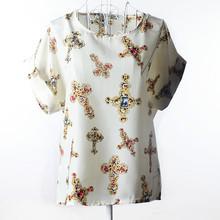 Hot Sale T Shirt Women 2016 Summer Bird Printed Women Tops Short Sleeve Female T-shirts Plus Size Tshirt Chiffon Tee Shirt Femme(China (Mainland))