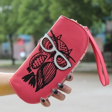 Wallets Purse Cute Owl Glasses Hit Color Printing Korean Rounded Zipper Long Women Wallet New Ladies
