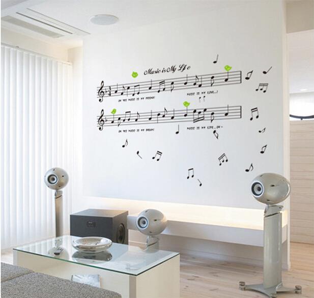 New Music Wall Sticker Bar Cascos Music Bedroom Decor Pegatina Modern Pared Funny Sticker Home Decor Vinilos Music Wall Sticker(China (Mainland))