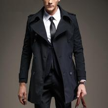 Customize Top Quality British Slim double breasted mens long trench coat Europe trenchcoat jacket male coat trench free shipping(China (Mainland))