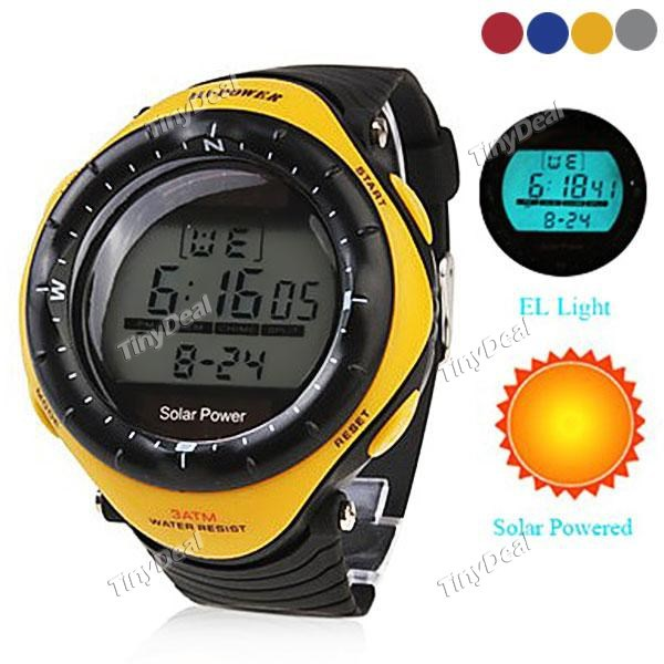 20 pieces solar Powered Multi-Functional Digital WristWatch Wateproof Men's LED sports watches(China (Mainland))