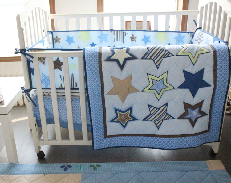 Discount! 4pcs embroidery Baby Cot Bedding Set Crib Cot Bed Cover Cute Set,include(bumper+duvet+bed cover+bed skirt)<br><br>Aliexpress