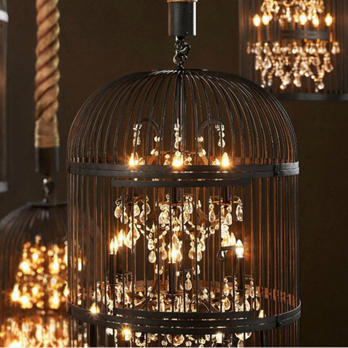 American country retro crystal double staircase , wrought iron birdcage lamp chandelier creative Nordic IKEA restaurant Villa(China (Mainland))