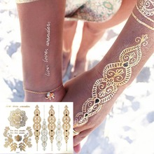 Gold Choker Temporary Tattoo Body Art Sleeve Arm Flash Tattoo Stickers, 21*15cm Waterproof Tatto Henna Fake Tatoo Beauty Selfie(China (Mainland))