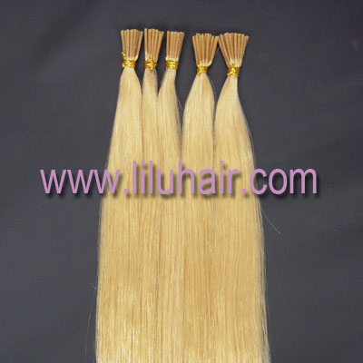 "Free Shipping 16""18""20""22''24"" Pre-Bonde Stick Tip Hair Extension I tip Keratin Natural weaves hair #613 lightest blonde,0.5g/s"