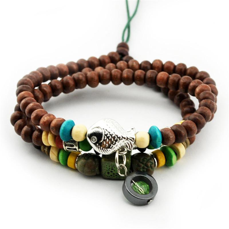 Fashion Natural Hematite Beads Crystal Pendant Wood Bead Bracelet Buddha Stretch Bracelet Men Women Gift Religion Charm Jewelery(China (Mainland))