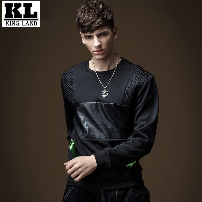2016 New Spring Fall Sweatshirt PU Patchwork Men Hoodies Fashion Casual Sweatshirts Hip Hop Pullover Hoodies Cool Streetwear XXL