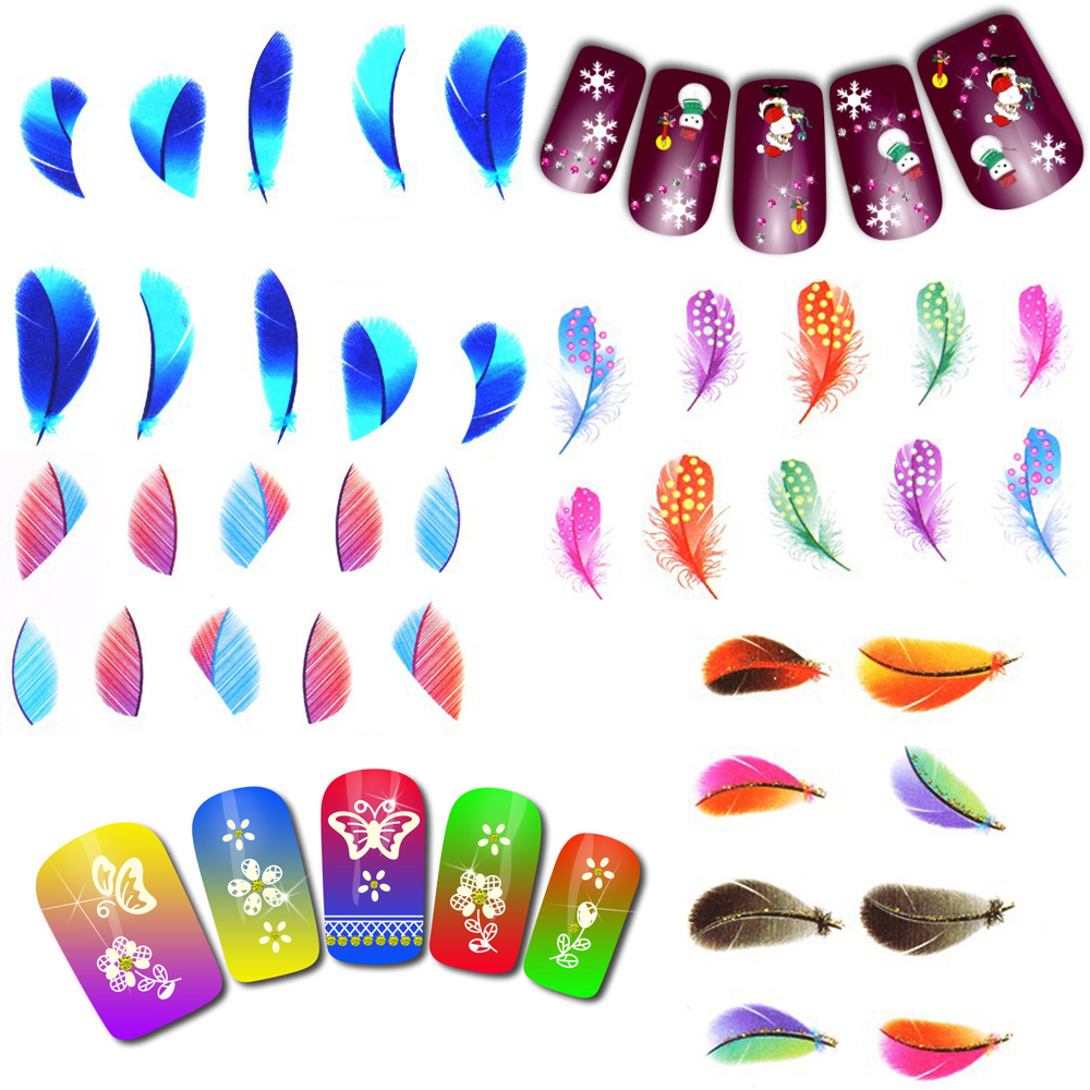 2016 Multi Style 3D Water Transfer Nail Sticker Decal Flower Feather Nail Sticker Christmas Art Stickers For Nails 1632639(China (Mainland))